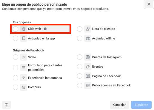 Audiencia personalizada página de facebook